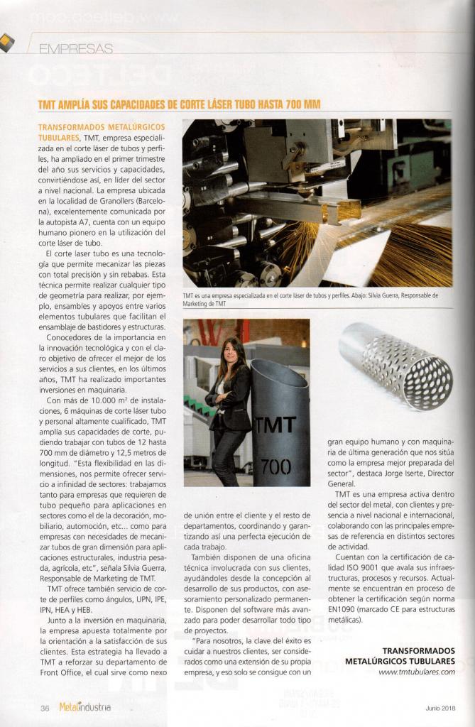 Estamos en la revista Metalindustria como referentes del corte láser tubo