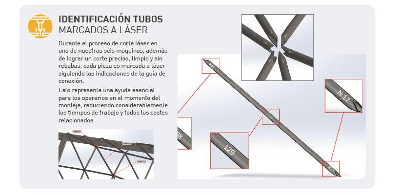 Identificación de tubos marcados a láser